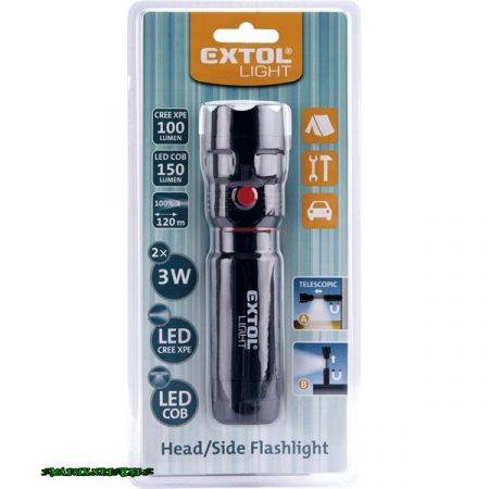 EXTOL LED lámpa, 3W XPE+3 W COB, 100Lm+150Lm,teleszkópos, 3 funkció (teljes/fél fényerő, villogás), műanyag ház, elem nélkül 43117