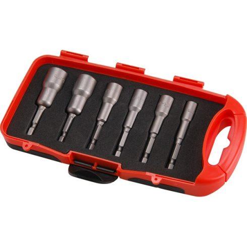 """EXTOL behajtó klt. hatlapfejű csavarhoz 6db, 6-13mm (6-7-8-10-12-13mm), 65mm hossz, 1/4"""" hatszög befogás, mágneses, Cr.V. 8819630"""