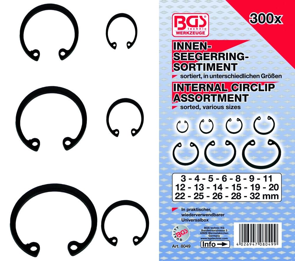 BGS-8049 Belső seegergyűrű készlet 300-részes