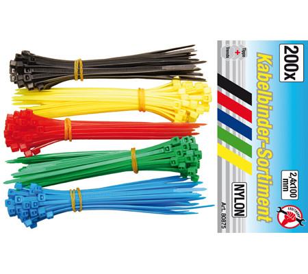 BGS-80875 Kábelkötegelő 2,4 x 100mm színes 200db