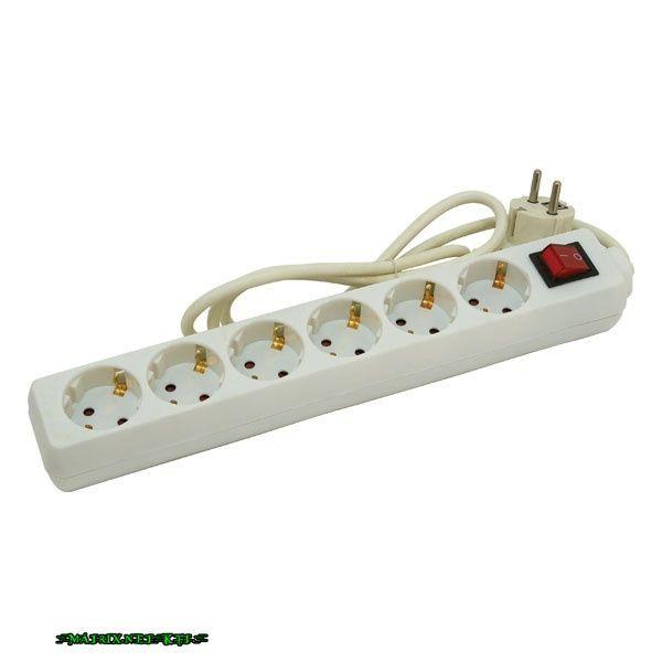 EXTOL villamos elosztó/hosszabbító, kapcsolóval, 6 aljzat, 5m kábel, földelt, 250V/10A; max: 2500W, Extol 84728